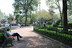 San Ángel - View at the Plaza del Carmen