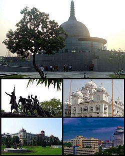 Clockwise from top: Budhha Memorial Park, Takht Sri Patna Sahib, Skyline near Biscomaun Tower, Patna Museum, Martyr's Memorial Patna