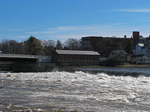 Lowell Power Canal System and Pawtucket Gatehouse - Pawtucket Gatehouse, from across the river, during a minor spring flood