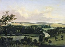 Painting of rolling hills, a river, and trees