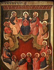 The Virgin surrounded by twelve apostles