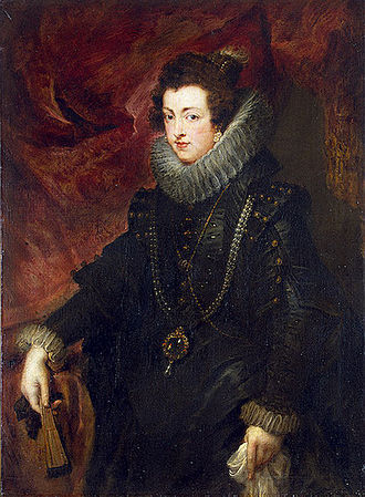 La Peregrina pearl - Peter Paul Rubens, Elisabeth of France, Queen of Spain wearing the pearl (c. 1625)