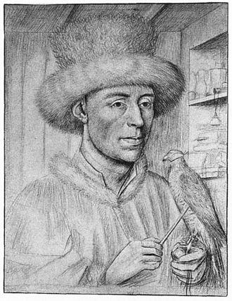 Petrus Christus - Ritratto d'uomo con falcone