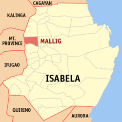 Map of Isabela showing the location of Mallig
