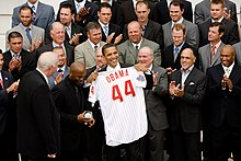 President Barack Obama Meets With The 2008 World Series Champion Philadelphia Phillies At White House May 15 2009