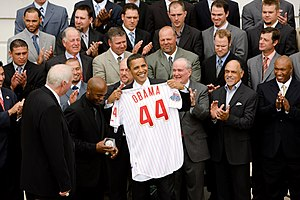 2009 in baseball - President Obama is presented with jersey number 44 from the Philadelphia Phillies during their visit to the White House