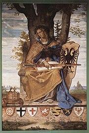 allegorical figure of Germania (woman, sword, flowing hair, flowing robes), seated, sword on her lap