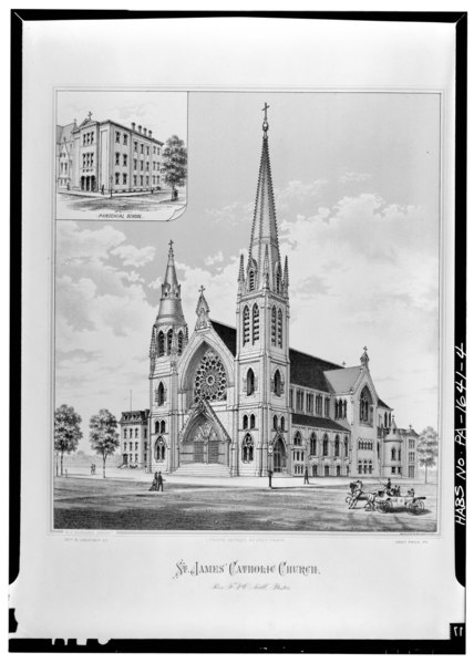 Front Elevation School Building : File photocopy of ca lithograph view church