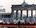 Photograph of President Reagan giving a speech at the Berlin Wall, Brandenburg Gate, Federal Republic of Germany - NARA - 198585.jpg