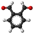 Ball-and-stick model of the phthalaldehyde molecule