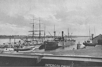 Pictou - ICR cars at dockside in Pictou, ca 1912.