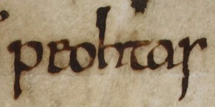 "An excerpt from folio 124r of British Library Cotton Tiberius B I (the ""C"" version of the Anglo-Saxon Chronicle): ""Peohtas