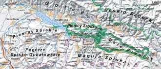 Dunajec - Dunajec in the Pieniny Środkowe range (Slovak: Centrálne Pieniny) forming a 27 km border between Poland and Slovakia