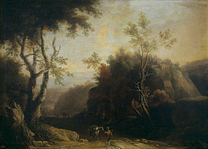 Pieter Spierinckx -  Landscape with tavern and Roman aqueduct