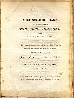 Pigot Diamond - Auction announcement for Pigot diamond at Christie's, London, 10 May 1802