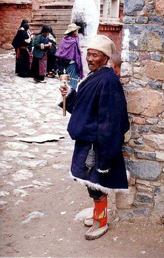 Buddhist pilgrimage - Pilgrims, Tsurphu Gompa, Tibet, 1993