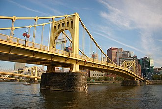 Roberto Clemente Bridge - The Bridge with Downtown Pittsburgh in the background.