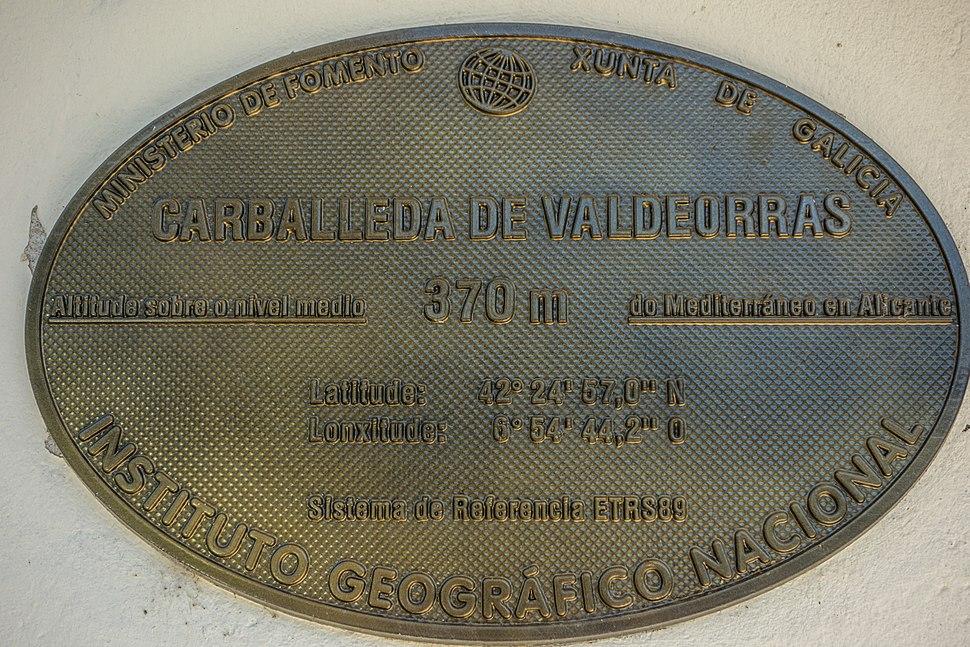 Placa altimétrica, concello Carballeda de Valdeorras