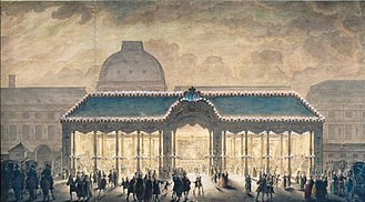 Place du Carrousel - A construction in the Place du Carrousel at the time, in 1745, of the marriage of Louis, Dauphin of France.  Note the Tuileries Palace in the background.