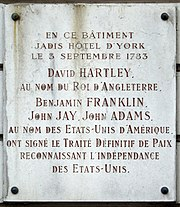Plaque Traité de Paris, 56 rue Jacob, Paris 6