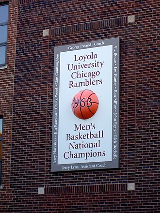 Loyola Ramblers - Plaque commemorating the 1963 Men's Basketball Team on the side of the Alumni Gym