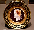 Plate, c. 1810 CE. It depicts Roman emperor Caligula. From France. By Darte-Freres. Porcelain painted in enamels and gilded. The Victoria and Albert Museum, London.jpg
