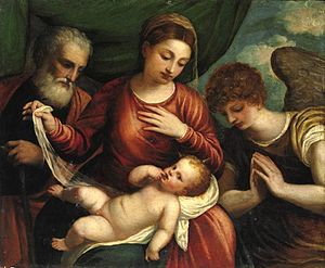 Holy Family - Polidoro da Lanciano (1515-1565), Holy Family with an Angel, c. 1540. (Private collection)