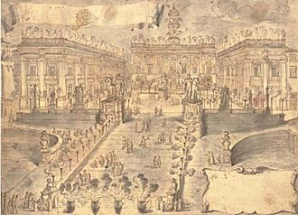 Pompeo Aldrovandini - The Cordonata and Piazza del Campidoglio, Rome, with fireworks and revellers celebrating the election of Pope Clement XII Corsini (1730) Red chalk, ink with pen and wash. 32.1 x 44.3 cm