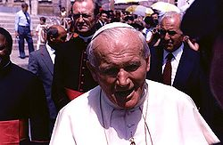 Pope John Paul II in St. Peter's Square (1985).