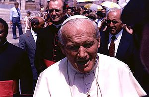 Pope John Paul II at a Papal Audience on 17 Ju...