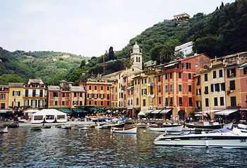 Portofino's small harbour on the Italian Riviera