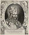 Portret van Frederik III van Habsburg, Duits keizer, met een kroon op het hoofd. Het portret is gevat in een ornamentele omlijsting met putti die wapentuig tonen. Midden onder zijn naam en t, NL-HlmNHA 1477 53012094.JPG