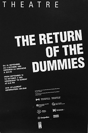 Dummies Theatre - Image: Poster for Return of the Dummies, by Dummies Theatre, Montreal, Canada,1993