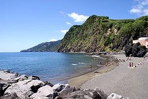 Povoação, Azores - One of the few sand beaches (Praia da Povoação) along the coast of the town of Povoação