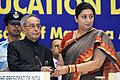 Pranab Mukherjee and the Union Minister for Human Resource Development, Smt. Smriti Irani at the National Education Day 2014 function to commemorate the birth anniversary of Maulana Abul Kalam Azad, in New Delhi.jpg