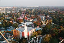 View over the Prater from the ferris wheel