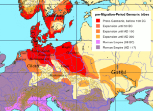 East Germanic tribes - Territories inhabited by East Germanic tribes, between 100 BC and AD 300.