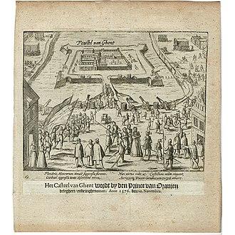 Willem Baudartius - Image: Print Baudartius Siege of Gent Spanjaardenkasteel 1576