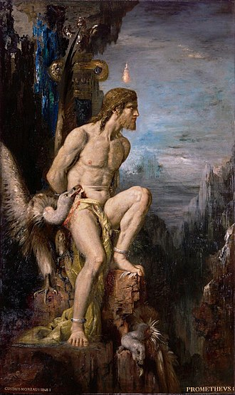 Myth - Prometheus (1868) by Gustave Moreau. In the mythos of Hesiodus and possibly Aeschylus (the Greek trilogy Prometheus Bound, Prometheus Unbound and Prometheus Pyrphoros), Prometheus is bound and tortured for giving fire to humanity