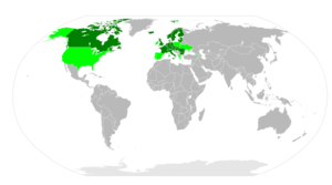 POP Air Pollution Protocol - Map showing Persistent Organic Pollutants signatories (green) and ratifications (dark green) as of July 2007