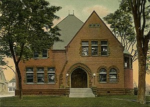 New Milford, Connecticut - Portcard drawing of the Public library, built in 1897-1898, as it appeared c. 1905