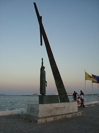 Pythagoreio - Statue of Pythagoras, located at the harbour