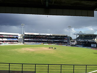 Queen's Park Oval - Queens Park Oval looking eastward towards the Brian Lara Pavilion, Carib Stand and Trini Posse Stand - Trinidad and Tobago vs Barbados Regional 50 overs game