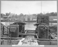 Queensland State Archives 3463 South main pier airlocks being placed on east caisson Brisbane 16 April 1937.png