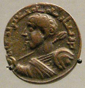 Qutb ad-Din Muhammad - Coin of Qutb al-Din, with representation of Roman Emperor Caracalla, mint of Sinjar, 1199.