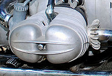 Closeup picture of the right-side cylinder of a BMW engine