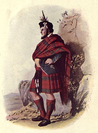 """Clan MacDonald of Keppoch - From The Highland clans of Scotland; their history and traditions (1923) by R.R. McIan. This illustration is titled """"MacDonald of Keppoch""""."""