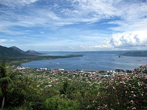 Rabaul - Rabaul from the Vulcanology Observatory, with the old town to the left and the new town to the right