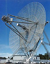 A lang-range radar antenna, kent as ALTAIR, uised tae detect an track space objects in conjunction wi ABM testin at the Ronald Reagan Test Steid on Kwajalein Atoll.