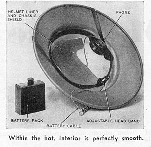 Radio hat -  The radio hat interior; the headphone could be on either side.